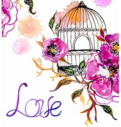 Watercolor flowers with cage vector image vector image