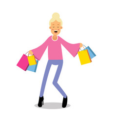 young happy fashionable blond girl standing with vector image vector image