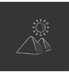 Egyptian pyramids drawn in chalk icon vector