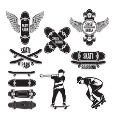 skating and labels for vector image vector image