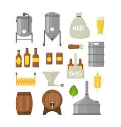 cartoon beer brewing color icons set vector image