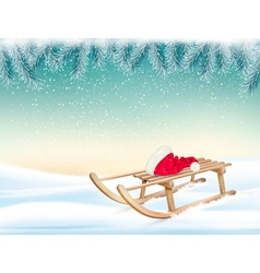 Christmas holiday background with santa hat and a vector