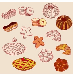 hand drawn sketch confections dessert pastry vector image vector image