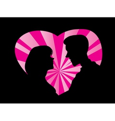 Silhouette of couple love vector image