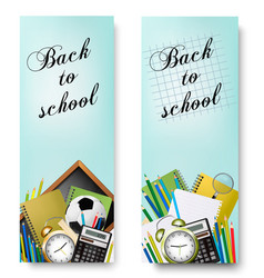 two back to school banners with supplies tols and vector image vector image