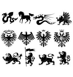 vector heraldic animals set 2 vector image