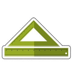cartoon triangle ruler measuring school vector image