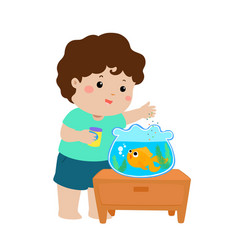 Cute little boy feeding fish in aquarium vector