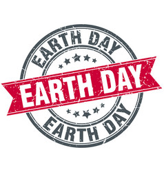 earth day round grunge ribbon stamp vector image