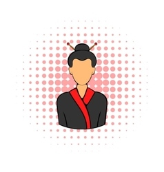 Geisha icon in comics style vector image vector image