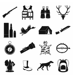 Hunting black simple icons vector image