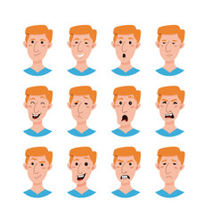 male emoji cartoon characters collection vector image vector image