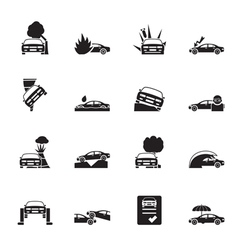 Silhouette transportation insurance and risk icons vector image vector image