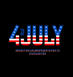 4th july usa independence day font vector