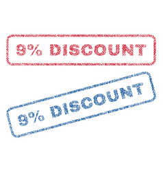 9 percent discount textile stamps vector