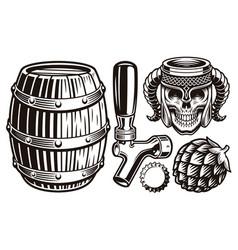 a set vintage beer vector image