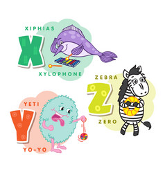 alphabet children colored letter x y z vector image