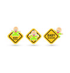 Baby on board warning sticker set road signs vector