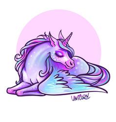 Beautiful unicorn in sleep magic fantasy h vector