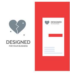broken love heart wedding grey logo design and vector image