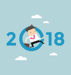 businessman jump throw zero in number 2018 vector image