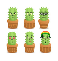 cactus emotion characters set vector image