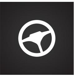 Car steering wheel on black background vector
