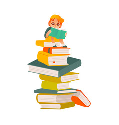cartoon boy reading sitting book column vector image