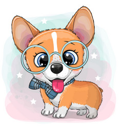 Cartoon dog corgi with a blue bowtie and glasses vector