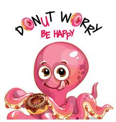 Cartoon octopus with donuts vector