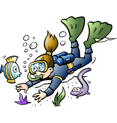 cartoon of a diver looking at colorful fish vector image