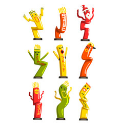 Colorful dancing inflatable tube men set with vector