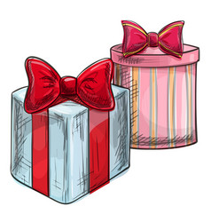 colorful sketch of christmas presents vector image