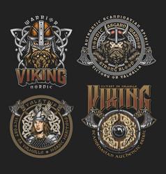 Colorful viking vintage prints vector