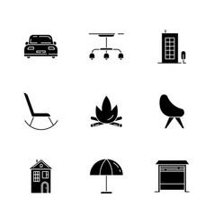 Comfort living black glyph icons set on white vector