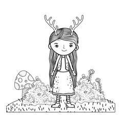Cute little fairy with deer horns character vector