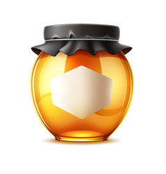 delicious honey ad glass jar with lid vector image