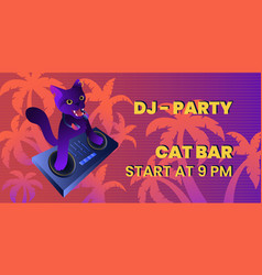 Djing concept with wild cat as a dj retro banner vector