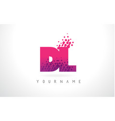 Dl d l letter logo with pink purple color and vector