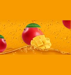 Drops mango juice 3d realistic vector