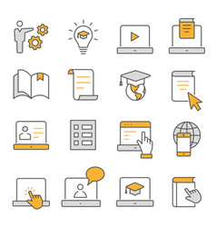 e-learning distance education flat line icons set vector image
