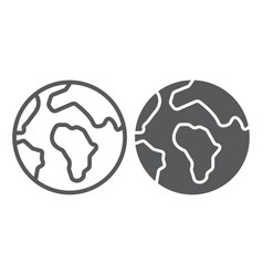 earth line and glyph icon map and planet globe vector image