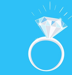Engagement Diamond Ring with Sparkles on Blue vector image