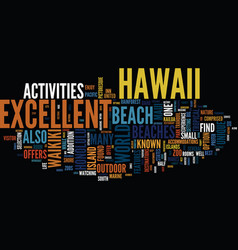 enjoy excellent beaches in hawaii text background vector image