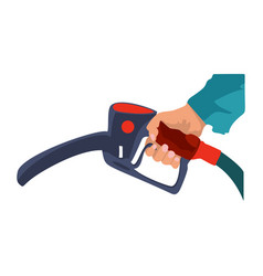 fuel pump in hand man petrol station holding fuel vector image