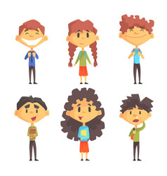Funny disciples of elementary school cute boys vector