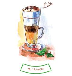 Glass latte vector