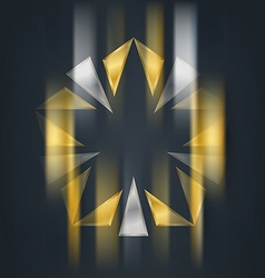 Gold and silver star with blur effect Award 3d vector image