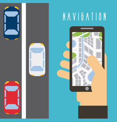 Hand holding smartphone map navigation traffic vector
