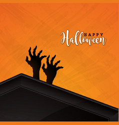 happy halloween banner with coffin vector image